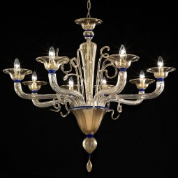 Cannaregio Murano chandelier gold and blue