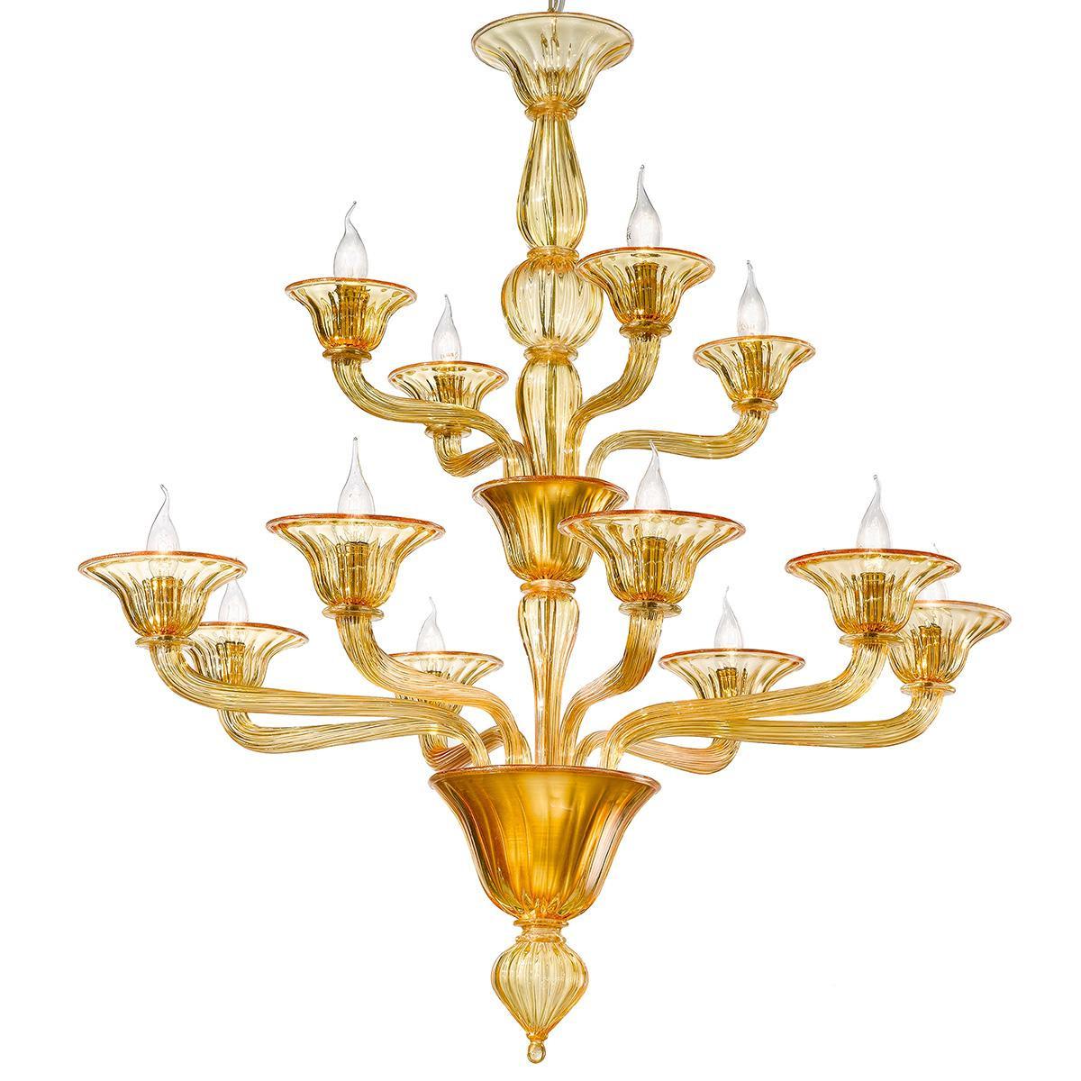 """""""Ivetta"""" Murano glas Kronleuchter - 8+4 flammig - bernstein"""