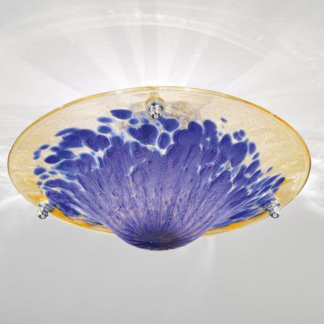 """Frida"" Murano glass ceiling light - 3 lights - amber, blue and gold"