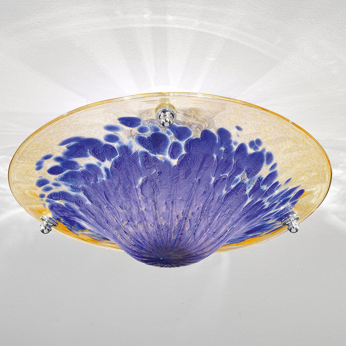 """""""Frida"""" plafonnier en verre de Murano - 3 lumières - ambre, bleu et or"""