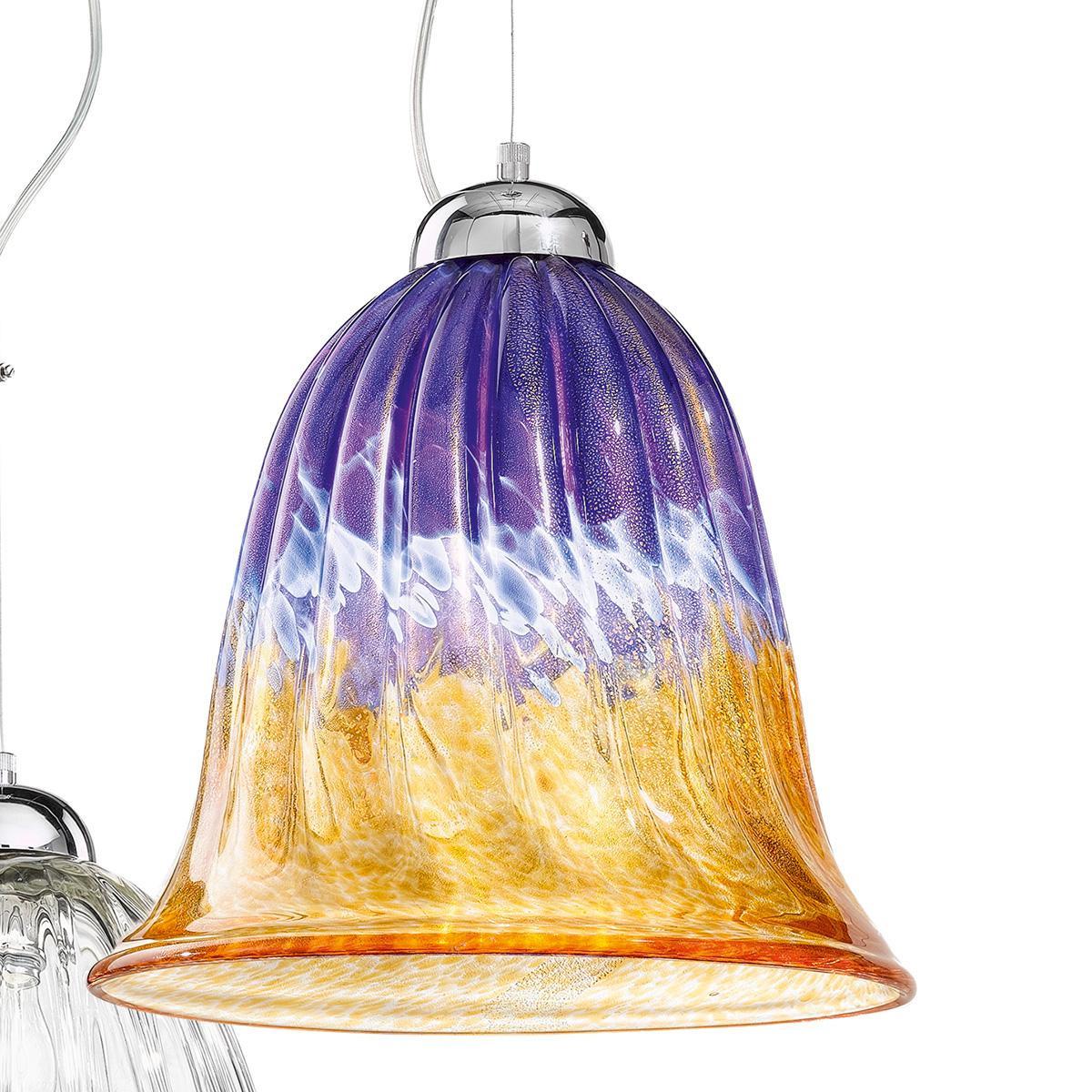 """Frida"" suspension en verre de Murano - 1 lumière - ambre, bleu et or"