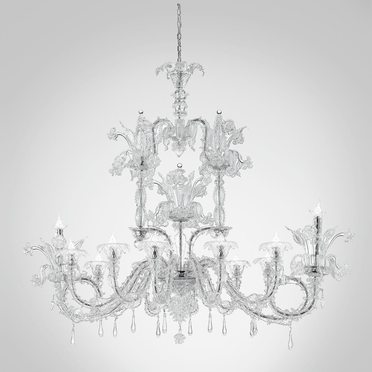 """Chandra "" lustre en cristal de Murano - 12 lumières - transparent"