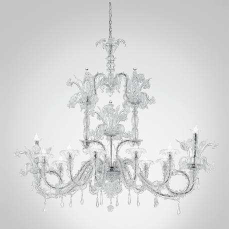 """Chandra "" Murano glass chandelier - 12 lights - transparent"