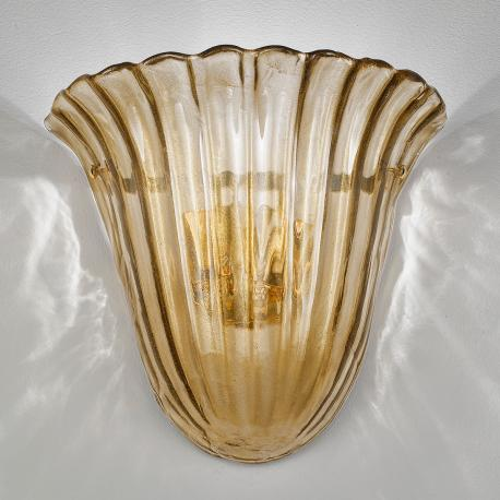 """Mabel "" Murano glass sconce - 2 light - smoke gold"