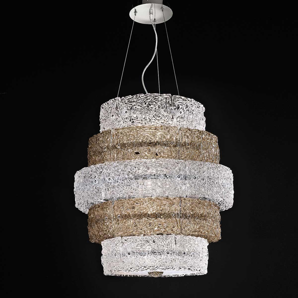 """""""Ilia """" suspension en verre de Murano - 12 lumières - transparent et fumée"""