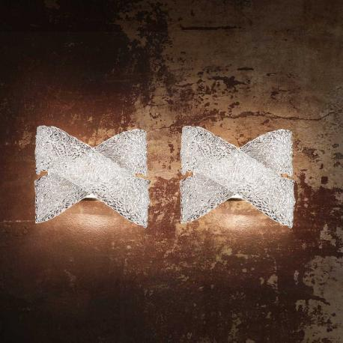 """""""Ilia"""" aplique de pared de Murano - 2 luces -transparente"""