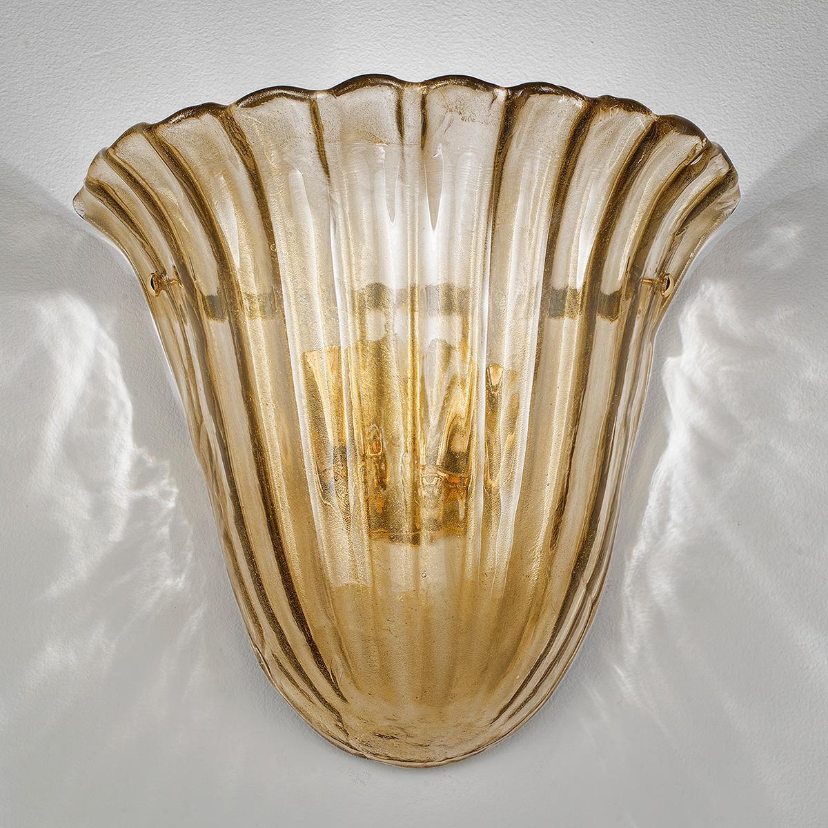 """""""Mabel """" applique en verre de Murano - 2 lumière - fumée  or"""