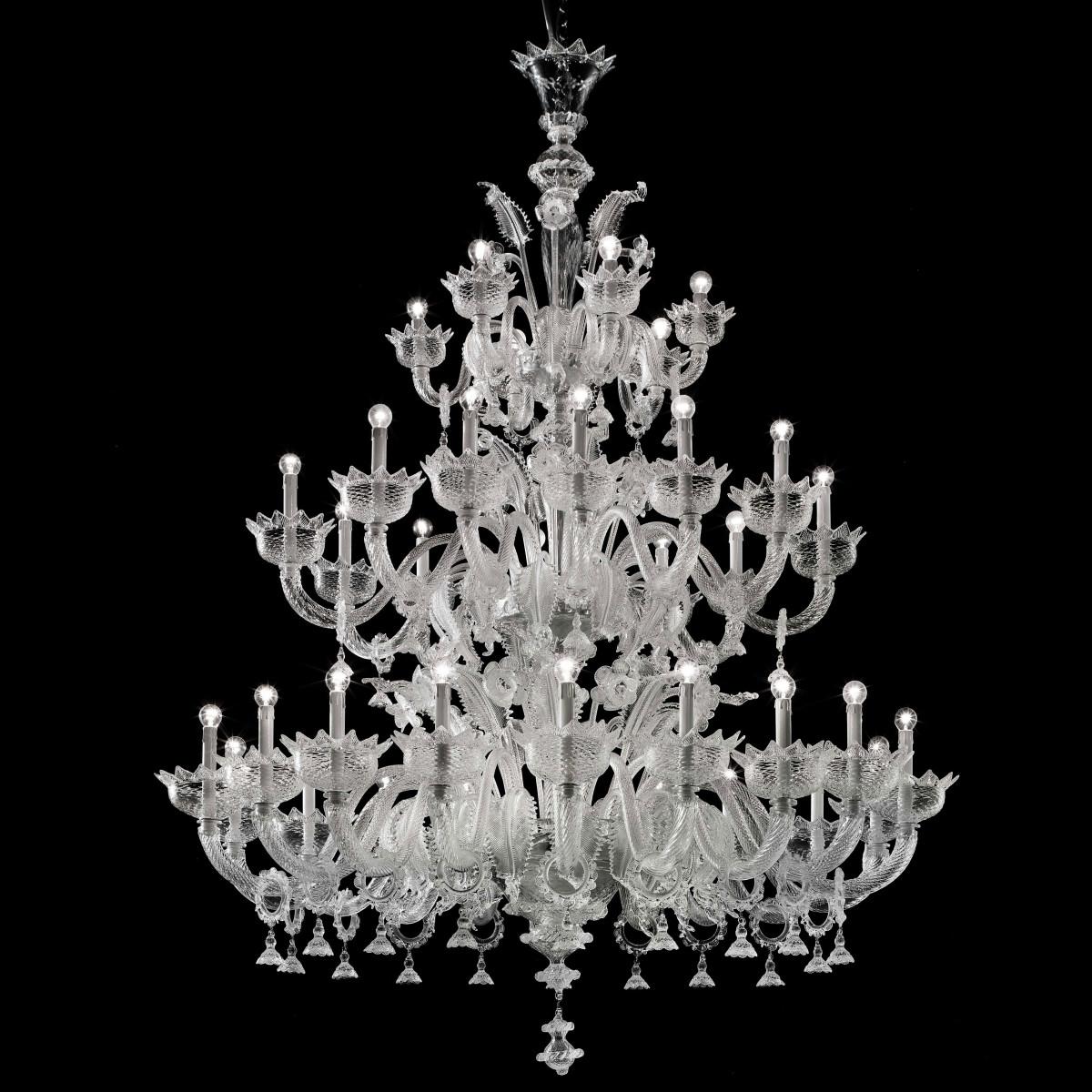 """Casanova """"special"""" araña 18+12+6 luces de cristal de Murano con anillos - color transparente"""
