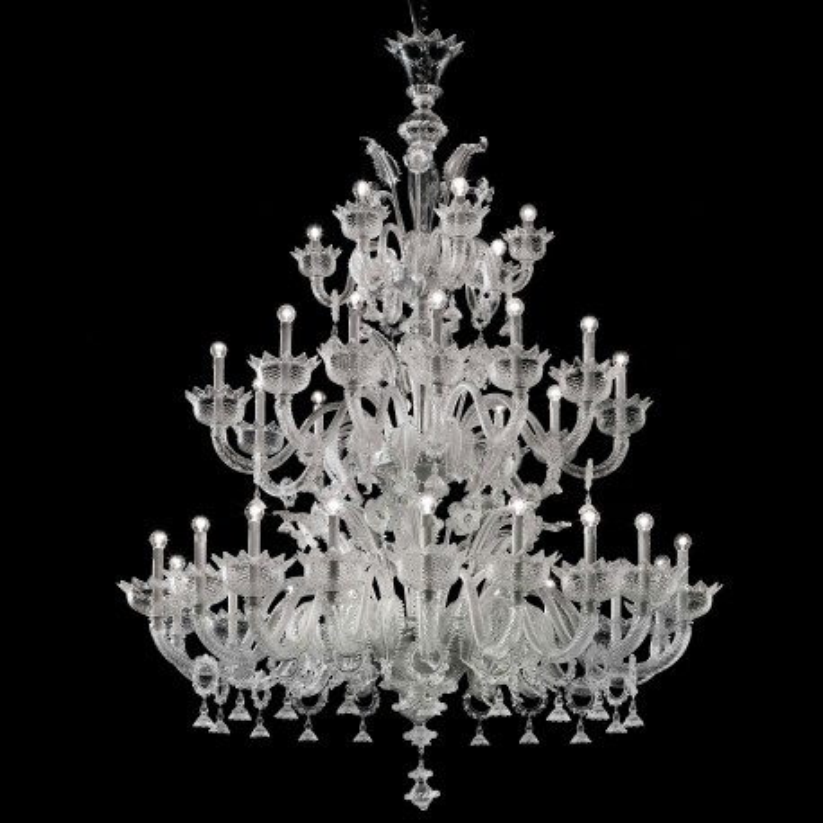 """Casanova """"special"""" 18+12+6 lumieres lustre Murano avec anneaux - couleur transparent"""