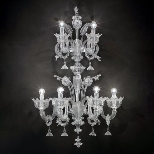 """""""Casanova"""" aplique de pared a dos niveles de Murano con anillos"""