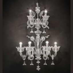 """Casanova"" two tier Murano glass wall sconce with rings"
