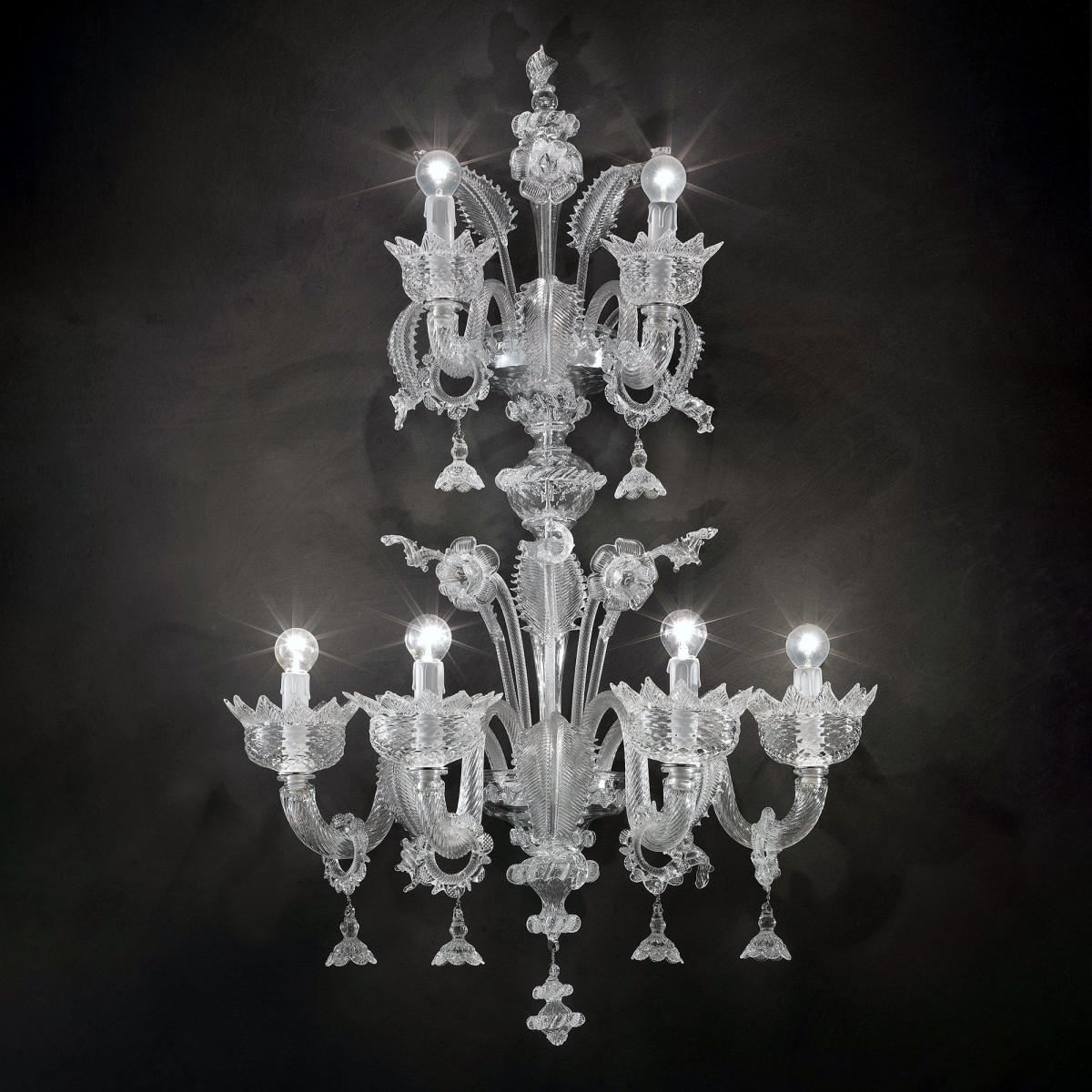 "Casanova ""special"" aplique de pared de Murano con anillos - color transparente"