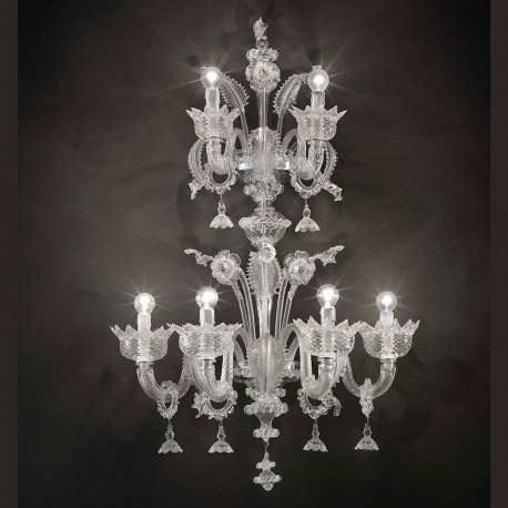 """Casanova """"special"""" Murano glass wall sconce with rings - transparent color"""