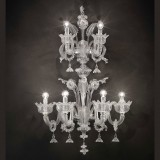 "Casanova ""special"" Murano glass wall sconce with rings - transparent color"