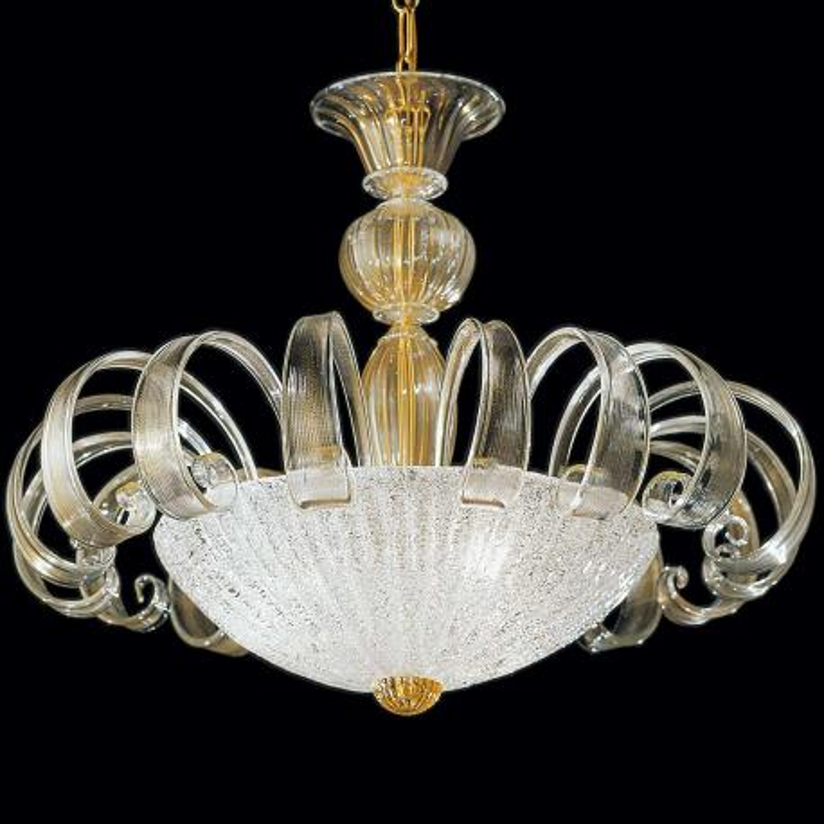 """Ipparchia"" lampara de araña de Murano - 3 luces - transparent y oro"