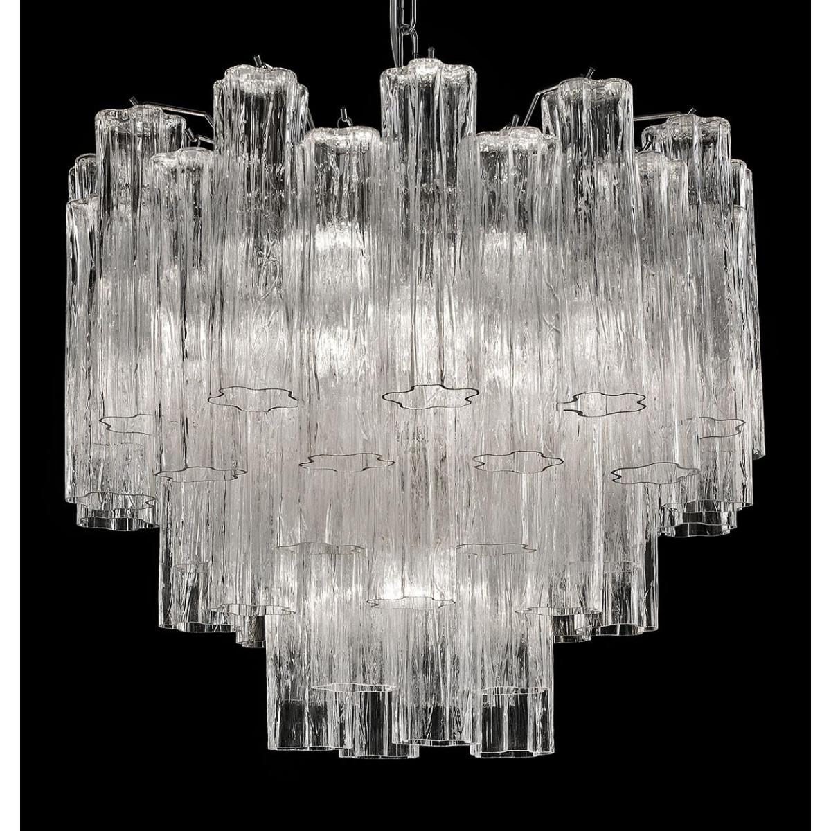"""""""Holly"""" grand lustre Murano - 7 lumières - transparent et chrome"""