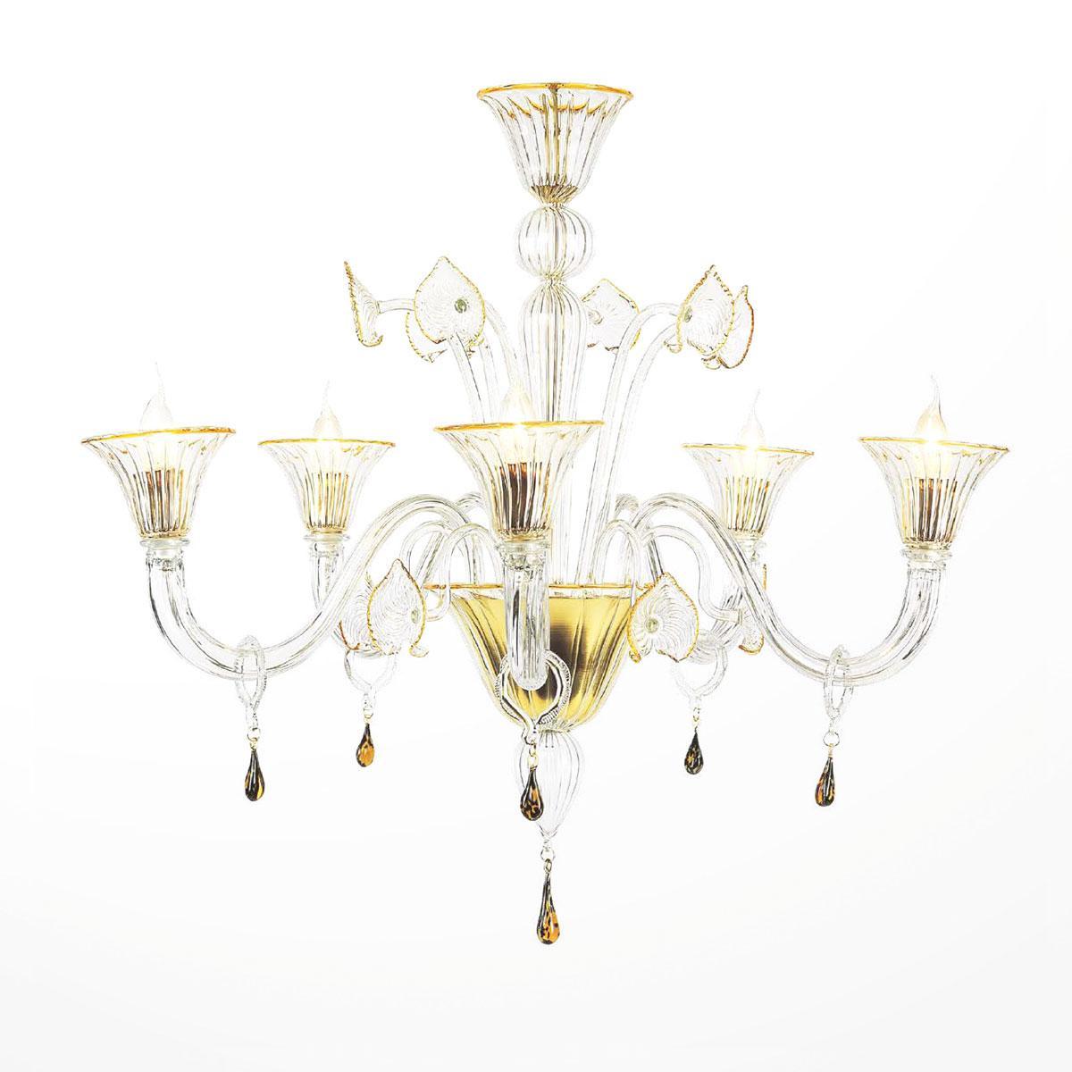 """""""Osiride"""" lustre en cristal de Murano - 5 lumières - transparent et ambre"""