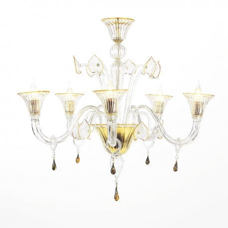 """Osiride"" Murano glass chandelier - 5 lights - transparent and amber"