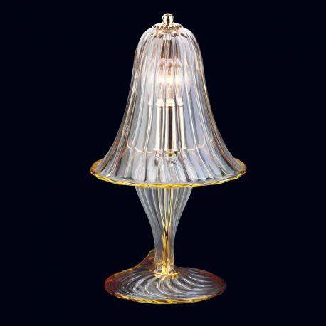 """Osiride"" Murano glass table lamp - 1 light - transparent and amber"