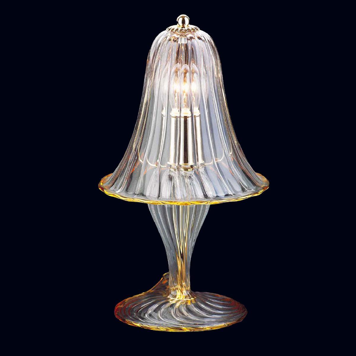 """Osiride"" Murano glass table lamp - 1 light - transparent and amber"