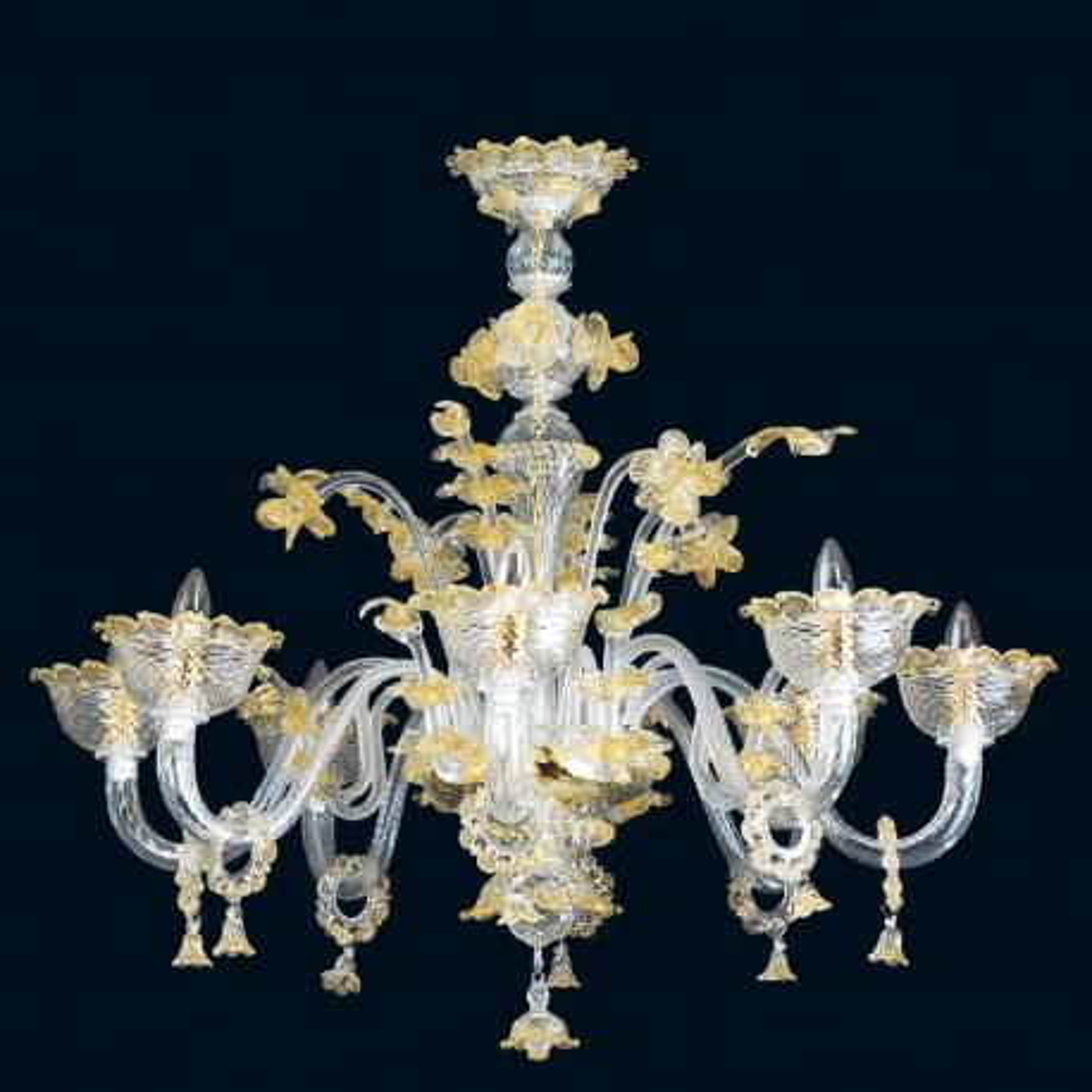 """Divina"" lampara de araña de Murano - 8 luces - transparent y oro"