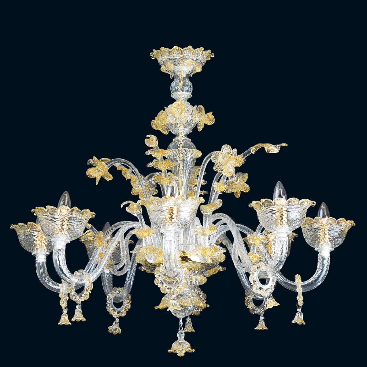 """""""Divina"""" lustre en cristal de Murano - 8 lumières - transparent et or"""
