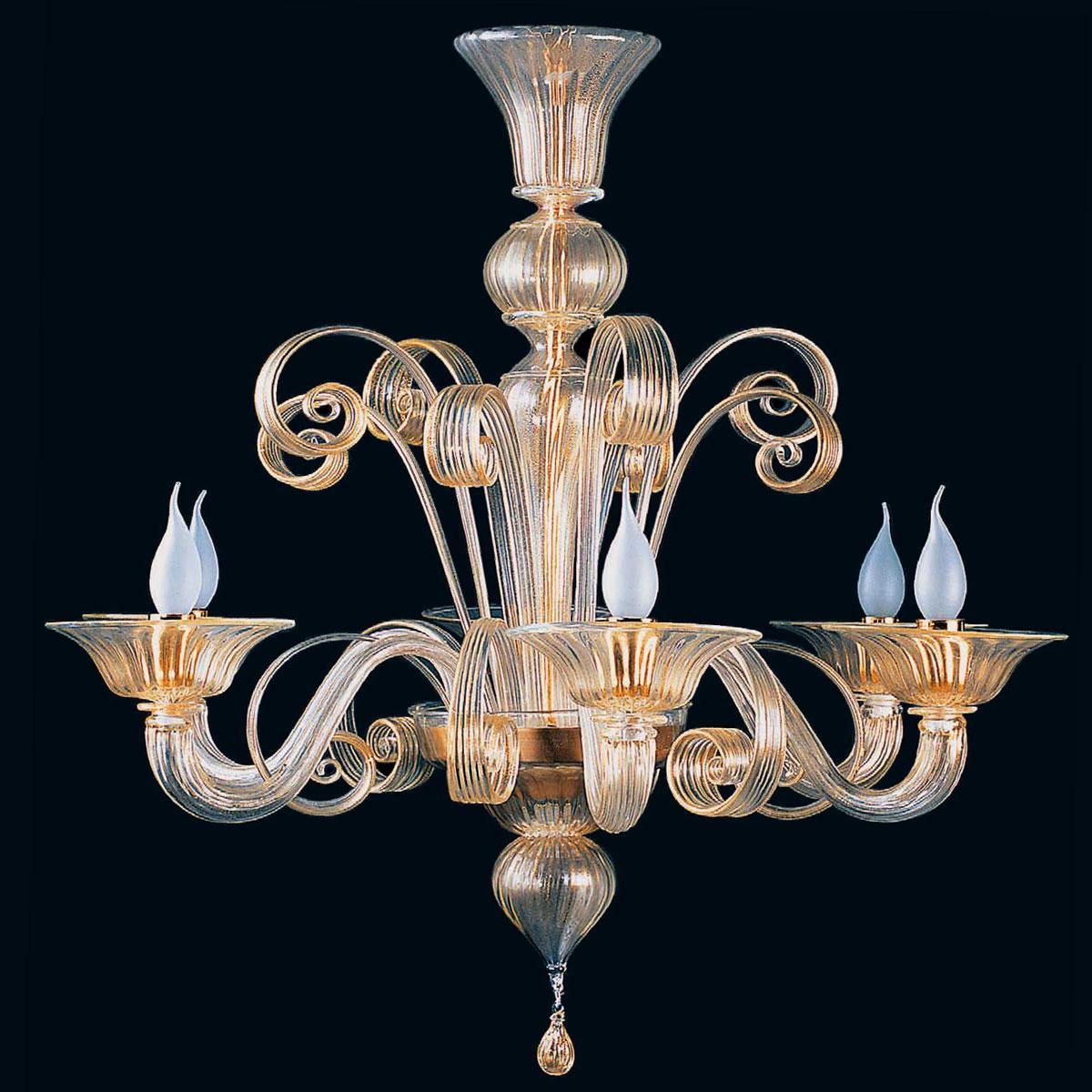 """Ima"" Murano glass chandelier - 6 lights - gold"