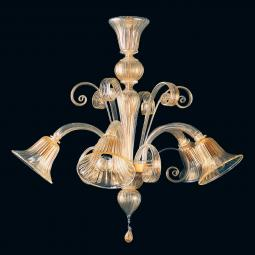 """Karlyn"" Murano glass chandelier - 5 lights - gold"