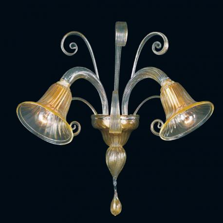 """Karlyn"" Murano glass sconce - 2 lights - gold"