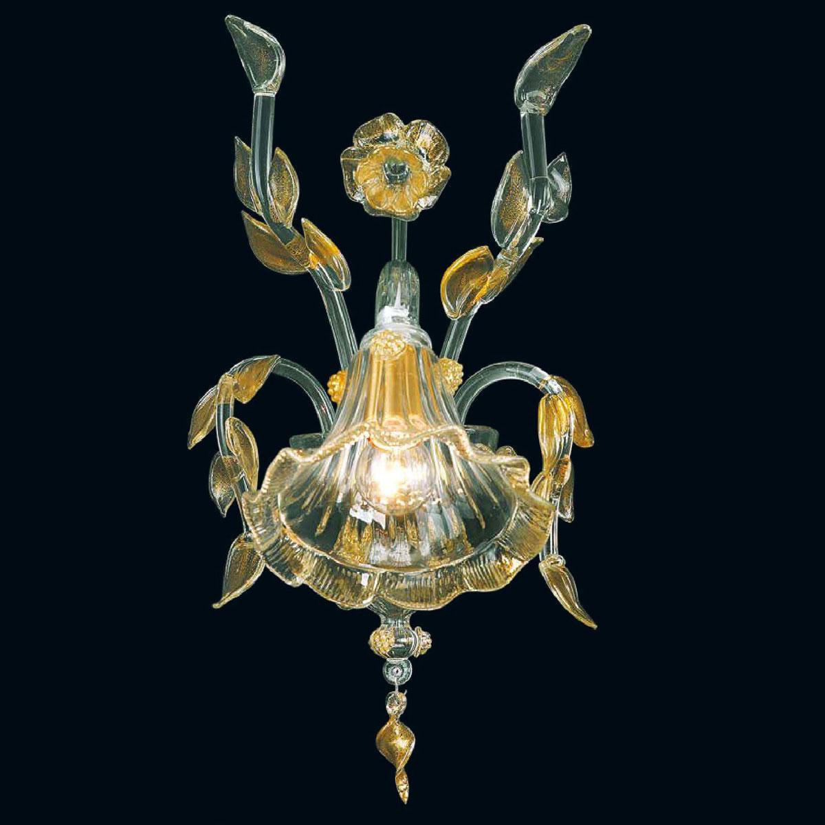 """""""Bessie"""" applique en verre de Murano - 1 lumière - transparent et or"""
