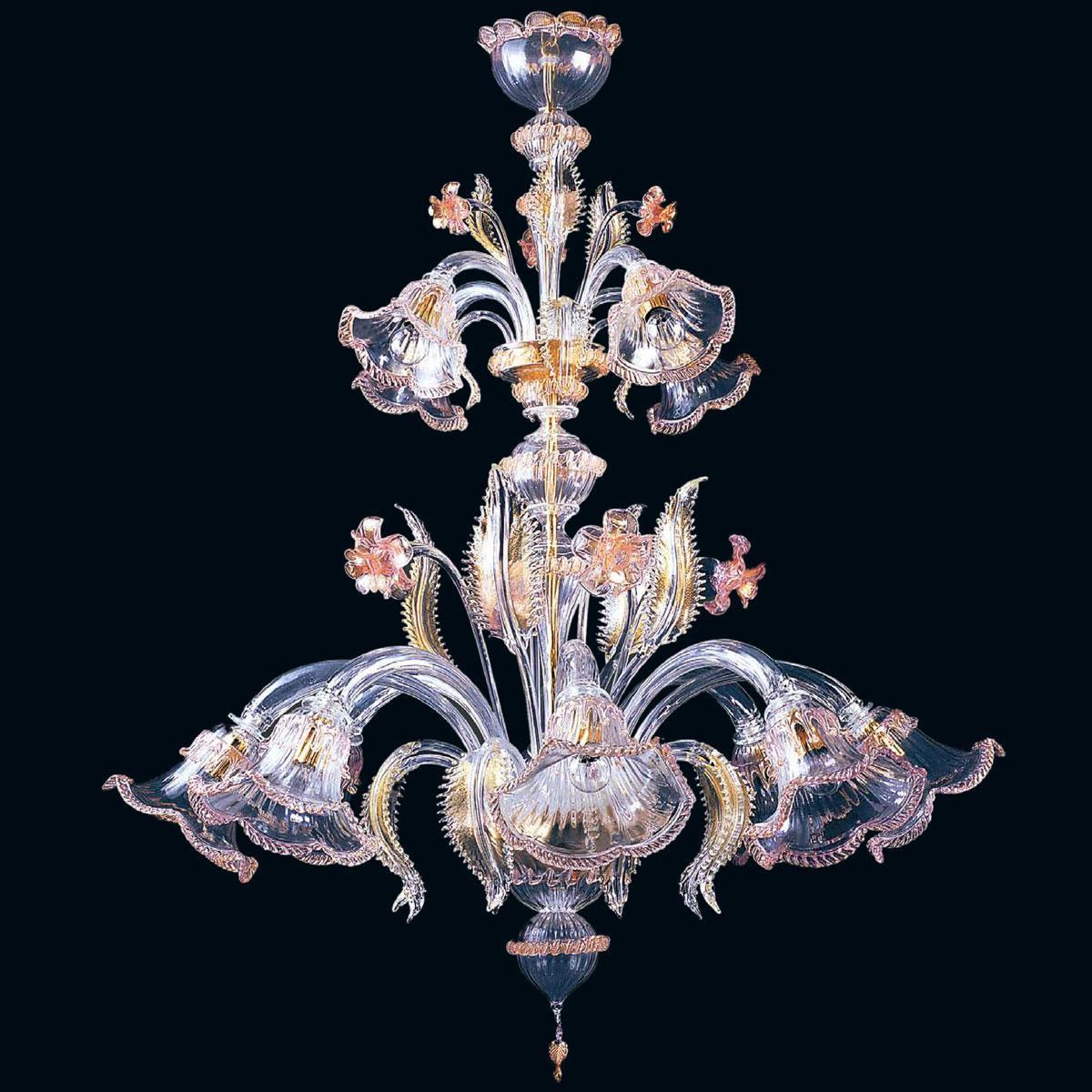 """""""Lurline"""" lustre en cristal de Murano - 8+4 lumières - transparent, rose et or"""