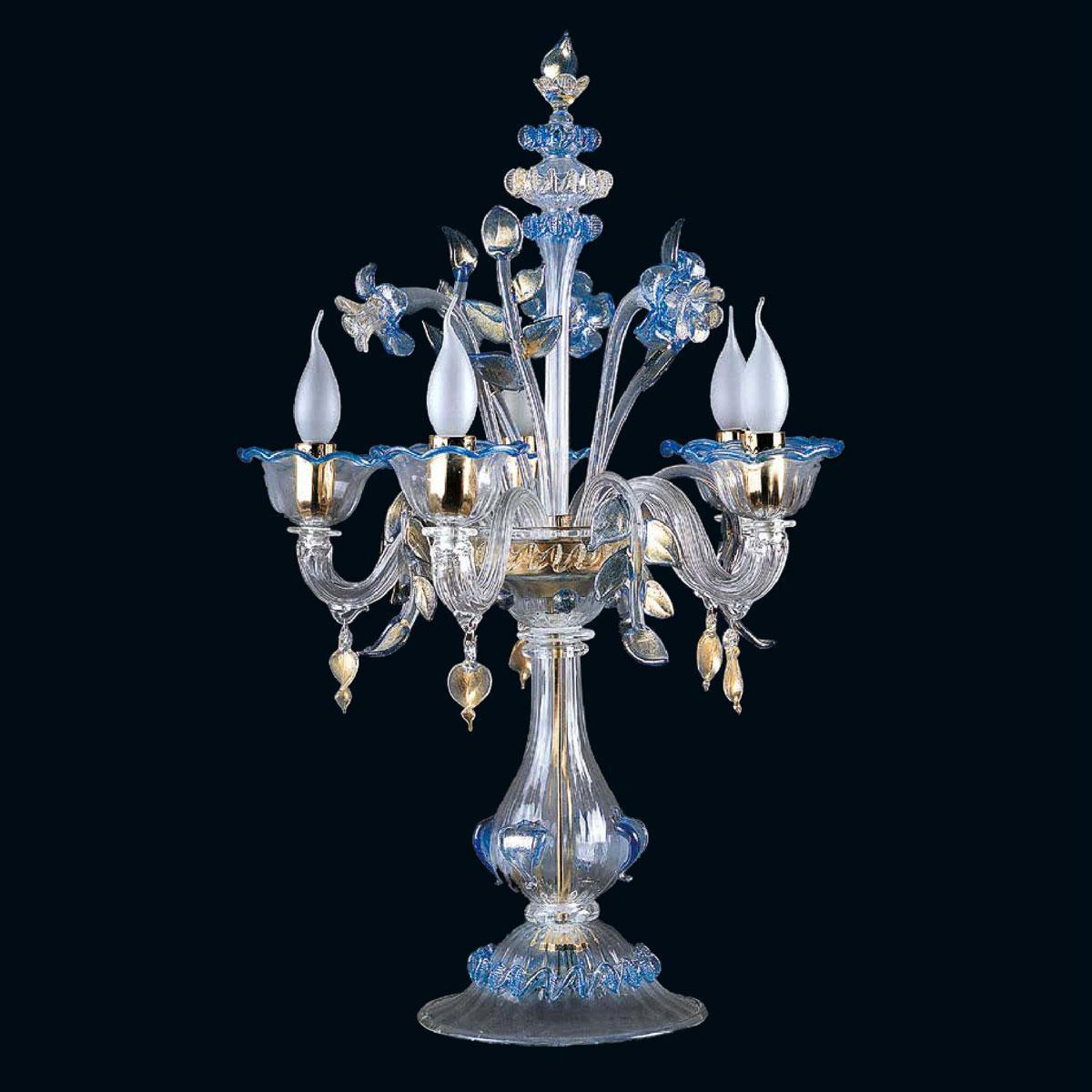 """""""Loralee"""" lampe de table en verre de Murano - 5 lumières - transparent, bleu et or"""