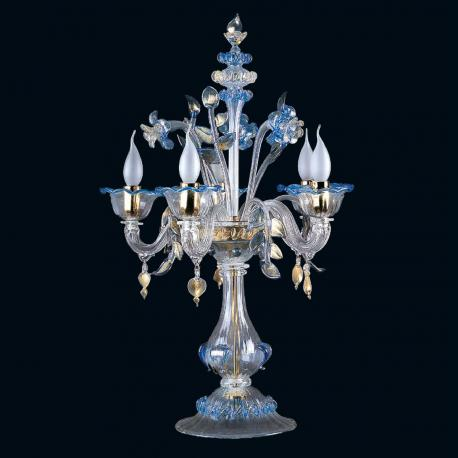 """""""Loralee"""" Murano glass table lamp - 5 lights - transparent, blue and gold"""