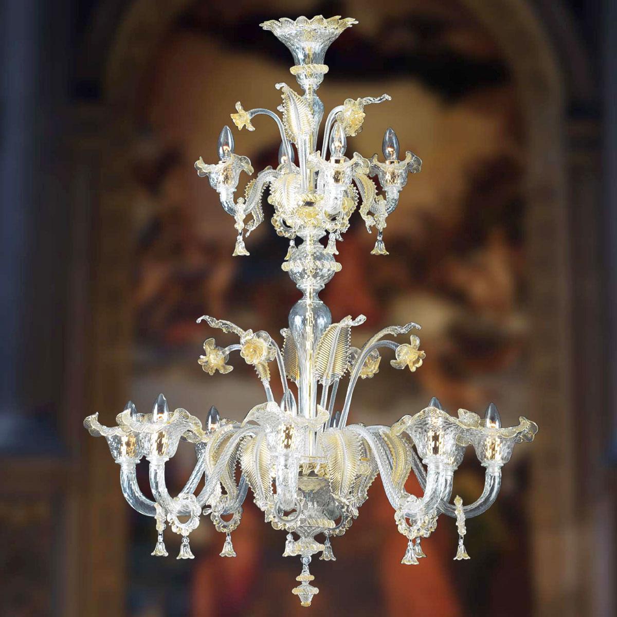 """""""Jarod"""" lustre en cristal de Murano - 8+4 lumières - transparent et or"""