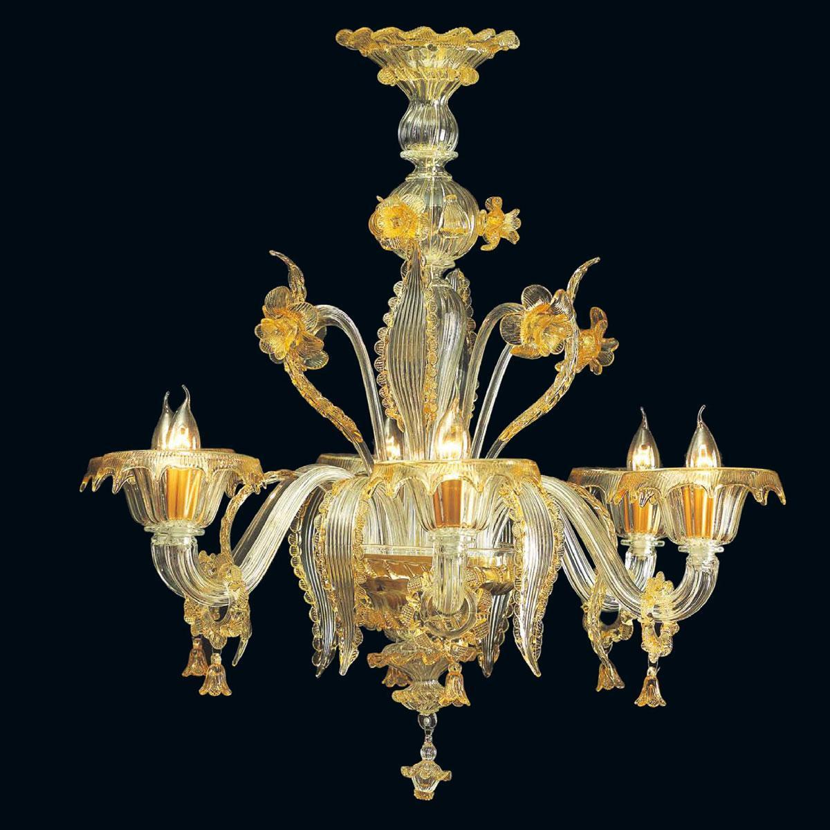 """""""Sherice"""" lustre en cristal de Murano - 6 lumières - transparent et ambre"""
