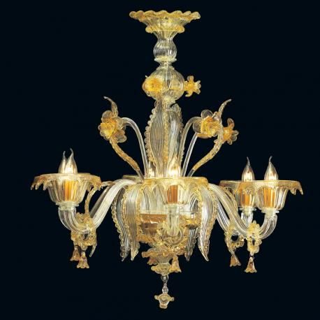 """""""Sherice"""" Murano glass chandelier - 6 lights - transparent and amber"""