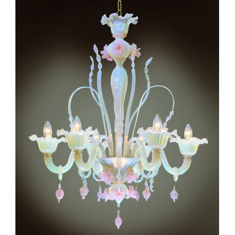 Ducale 6 lights Murano chandelier - opal pink color