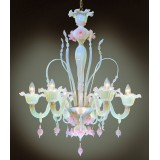 Ducale 6 lights Murano chandelier - black transparent