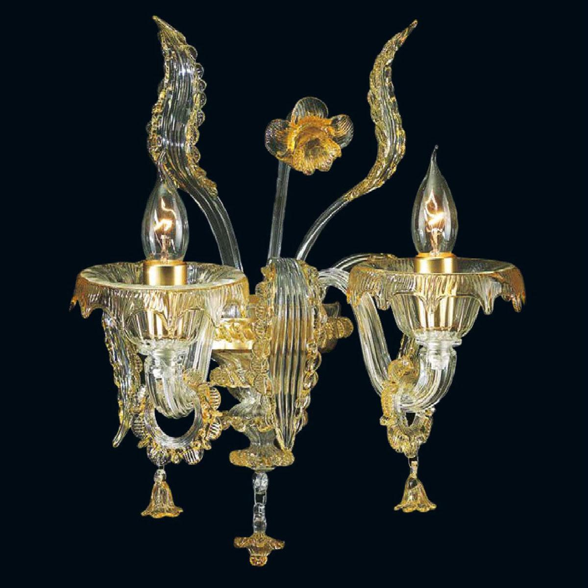 """""""Sherice"""" applique en verre de Murano - 2 lumières  - transparent et ambre"""