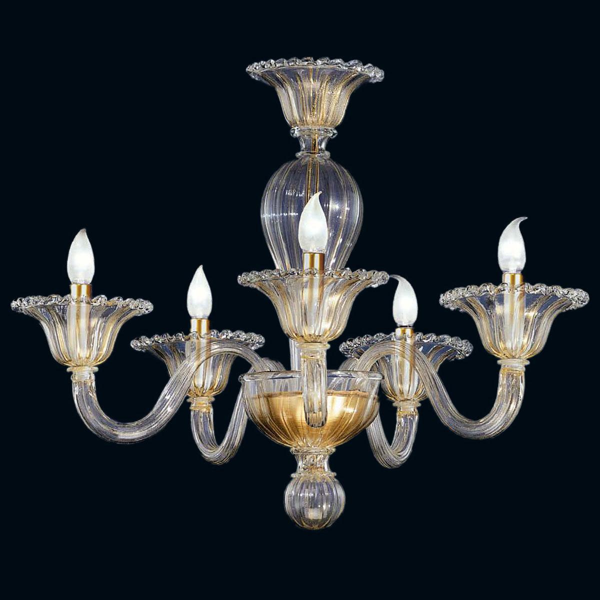 """""""Tish"""" lustre en cristal de Murano - 5 lumières - or"""