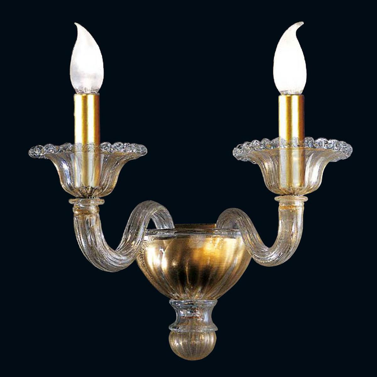 """""""Tish"""" applique en verre de Murano - 2 lumières - or"""
