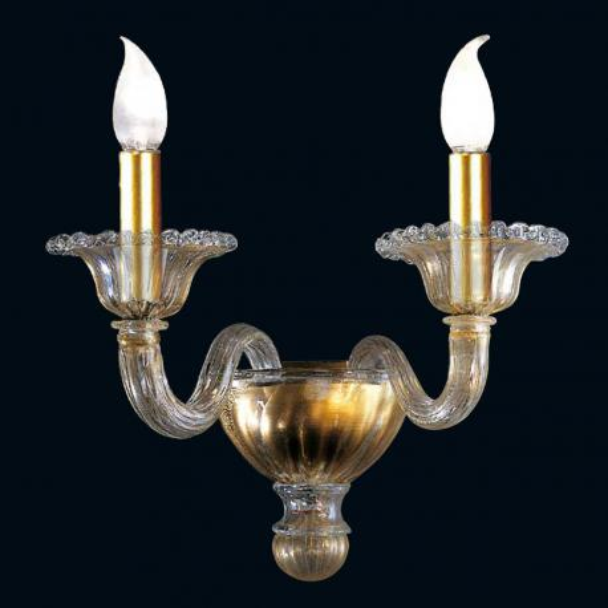 """Tish"" Murano glas wandleuchte - 2 flammig - gold"