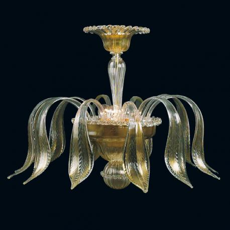 """Jeannetta"" Murano glass ceiling light - 3 lights - transparent and gold"