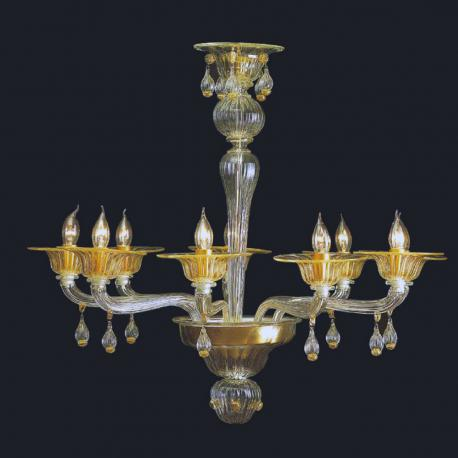 """Noreen"" Murano glass chandelier - 9 lights - transparent and gold"