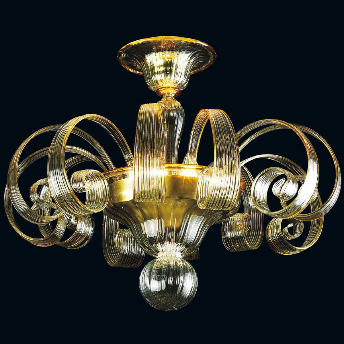"""""""Ardith"""" plafonnier en verre de Murano - 3 lumières - transparent et ambre"""