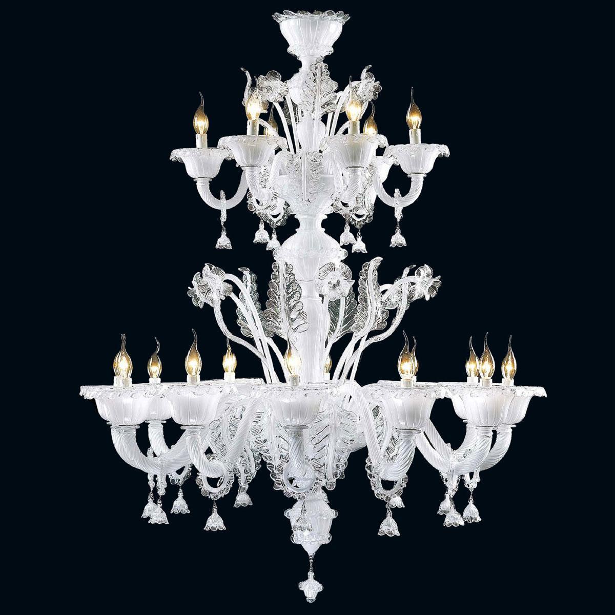 """Zenia"" lustre en cristal de Murano - 12+6 lumières - blanc"
