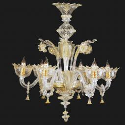 """Zoraida"" Murano glass chandelier - 6 lights - transparent and gold"