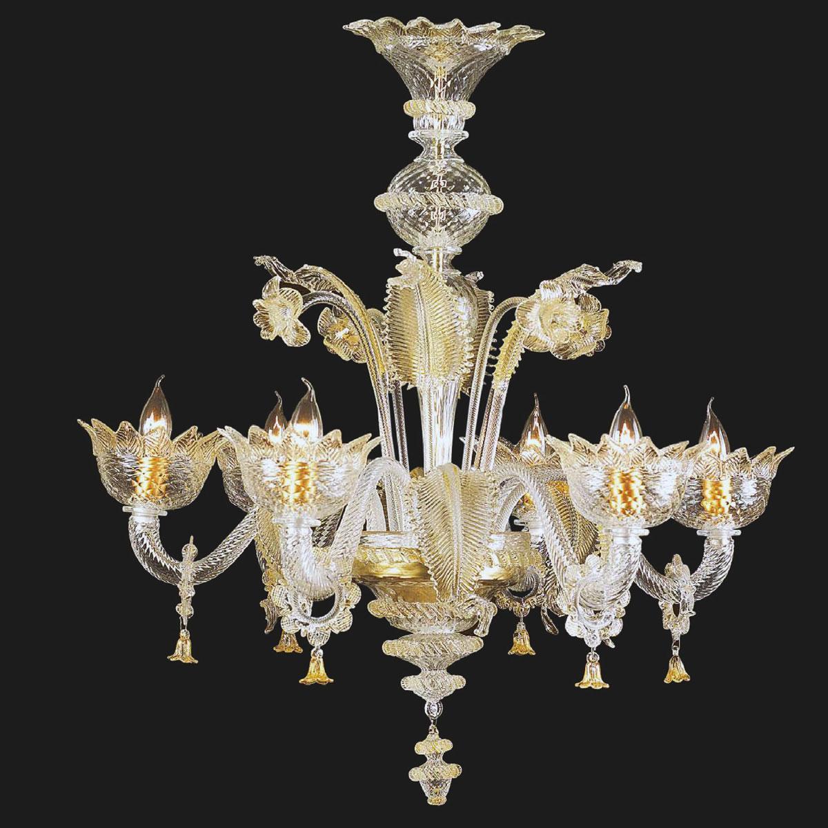 """""""Zoraida"""" lustre en cristal de Murano - 6 lumières - transparent et or"""