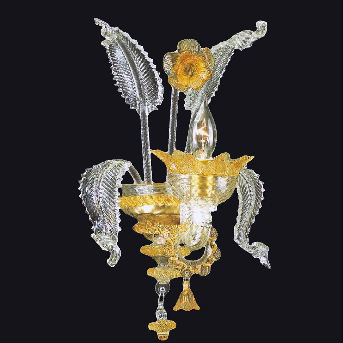 """""""Zoraida"""" Murano glass sconce - 1 light - transparent and amber"""