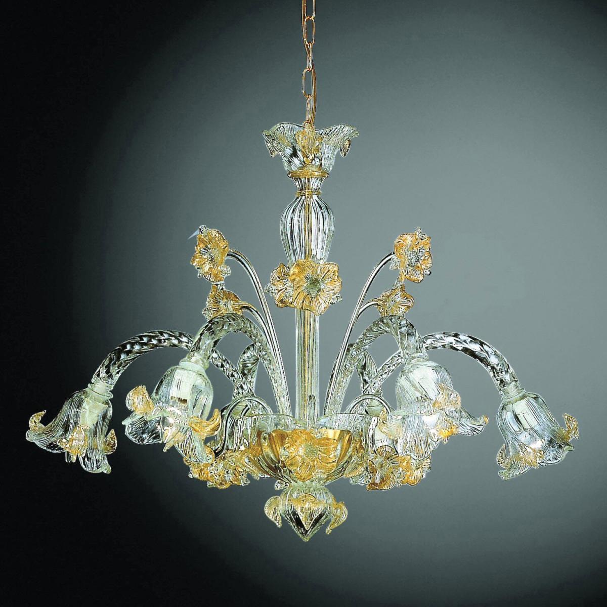 Flora 6 lights Murano chandelier - transparent gold color